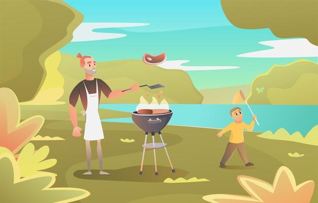 아빠는 바베큐를 위해 버거를 만듭니다. 캠핑. 아버지와 숲에있는 공원에서 아들. bbq 여름 시간. 남자는 그릴에 고기를 굽고
