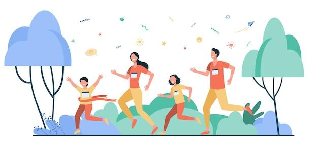 お父さん、お母さんと子供たちが公園で一緒に走っている孤立したフラットベクトルイラスト。幸せな漫画の男、女、子供たちがマラソンをジョギングしています。家族と健康的なライフスタイルの概念
