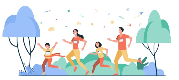 Dad, mom and kids running together in park isolated flat vector illustration. happy cartoon man, woman and children jogging marathon. family and healthy lifestyle concept