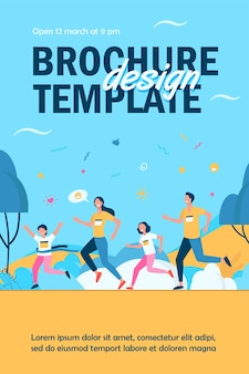 Dad, mom and kids running together in park isolated flyer template