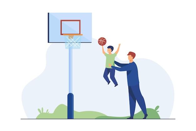 Папа играет в баскетбол с маленьким сыном. отец помогает мальчику бросить мяч в корзину плоской иллюстрации