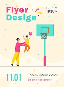 Dad playing basketball with little son flyer template