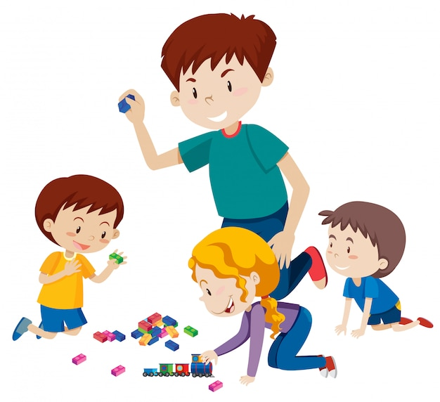 Dad playing blocks with his children