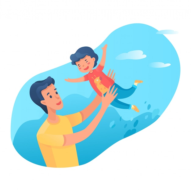 Dad playing with son flat characters