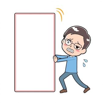 Dad pushing blank board