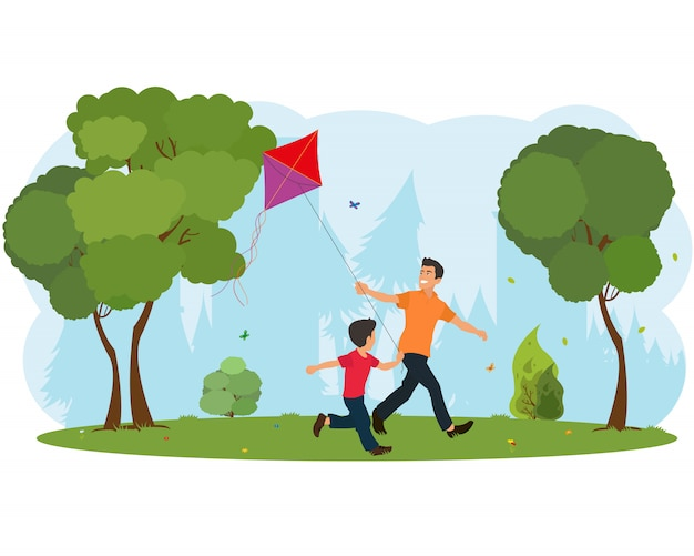 Dad and son child flying a kite.