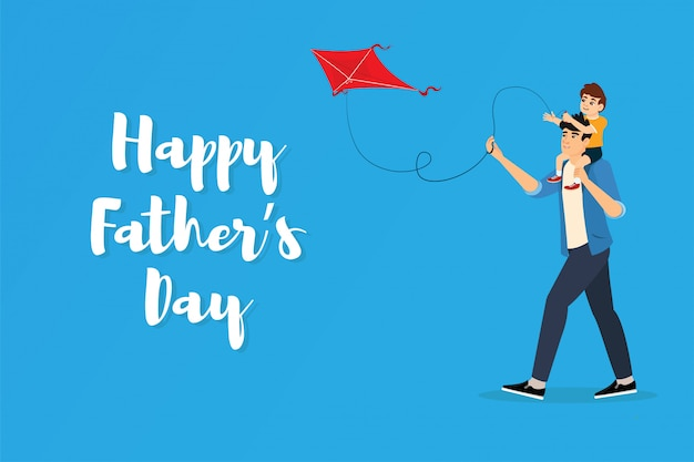 Dad and son fly a kite. happy father's day