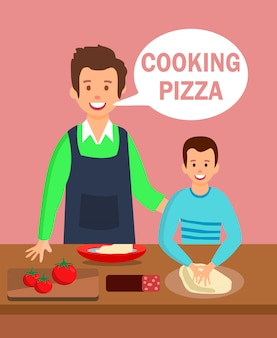 Dad and son in kitchen flat cartoon illustration
