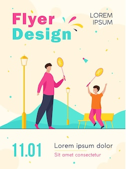 Dad and son playing badminton in autumn park flyer template
