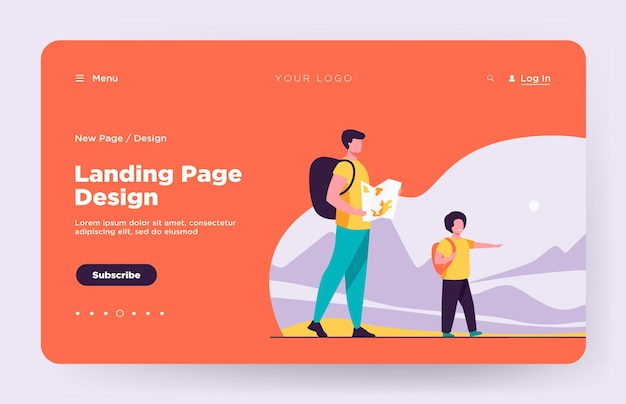 Dad and son with backpacks walking outdoors landing page