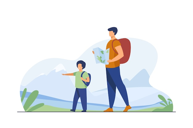 Dad and son with backpacks walking outdoors. tourists with map trekking in mountains flat vector illustration. vacation, family travel, hiking concept