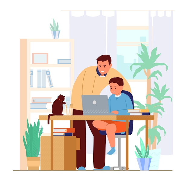 Dad or tutor teaching son at home