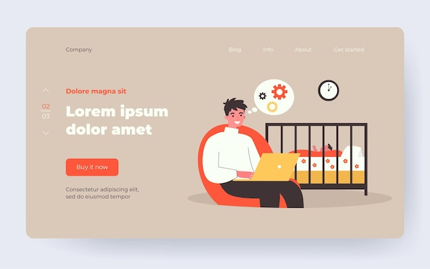 Dad using laptop while watching sleeping baby in crib. working at night, father, distance job flat vector illustration. parenthood, fatherhood concept for banner, website design or landing web page