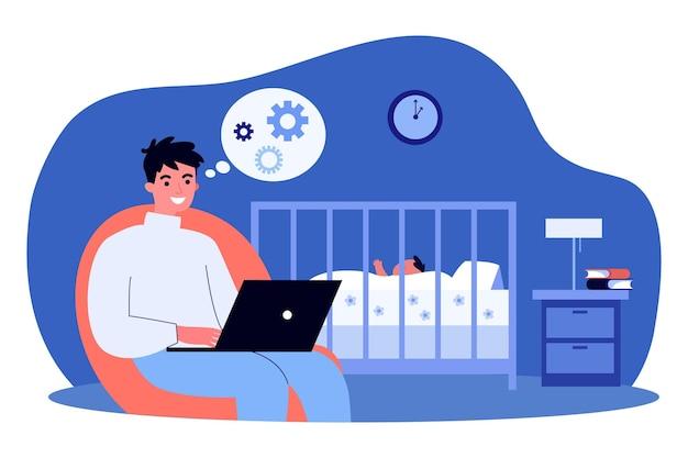 잠자는 아기 침대에서 보는 동안 노트북을 사용하는 아빠