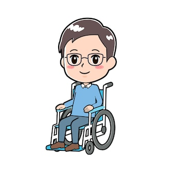 A dad with a gesture of wheelchair.
