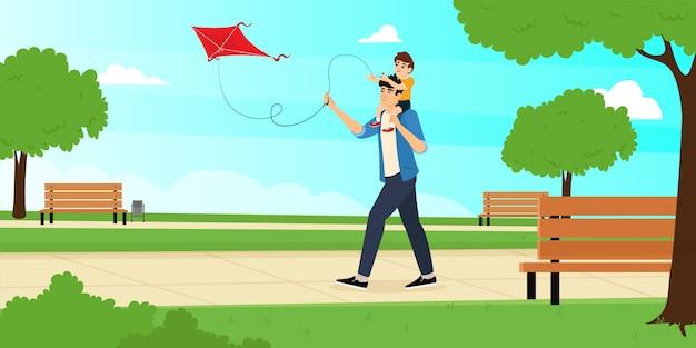 아들과 아빠가 공원에서 연을 날립니다. 해피 아버지의 날