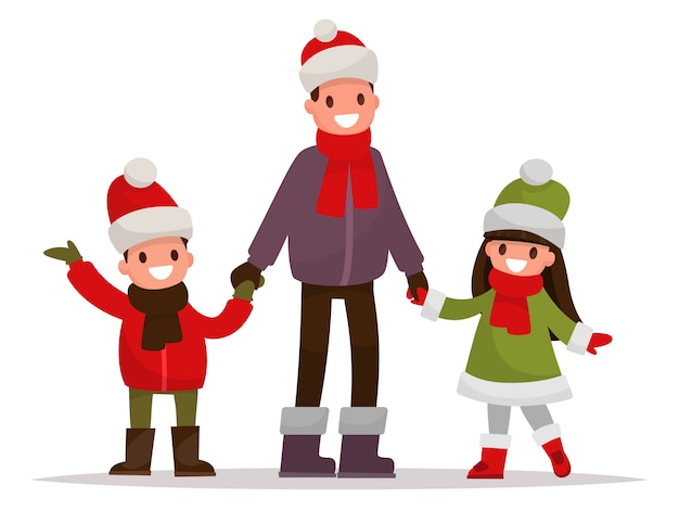Dad with kids dressed in winter clothes outdoor.