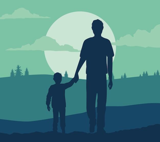Папа и сын сцена