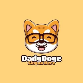 Daddy doge creative crypto shiba inu cartoon logo
