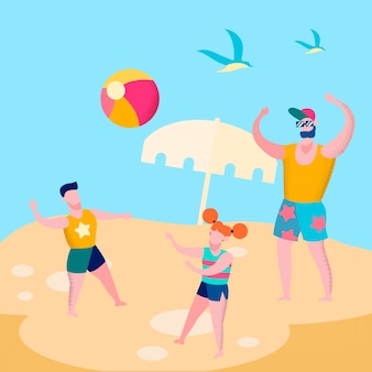 Daddy and kids playing ball game flat illustration
