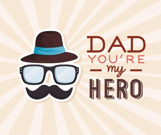 Daddy my hero, happy fathers day greeting card