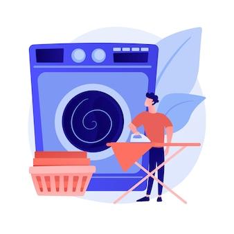 お父さんと家事抽象概念ベクトルイラスト。お父さんが家事をしている、家で雑用をしている、父と息子の娘が服を折りたたんでいる、楽しい料理をしている、一緒に掃除している、皿を洗う抽象的な比喩。
