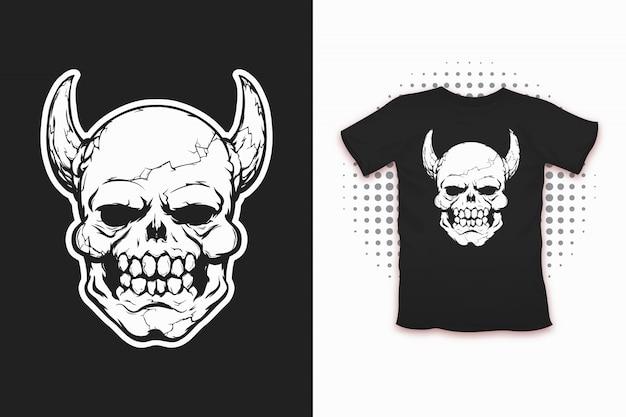 Daemon head print for t-shirt design