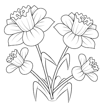Daffodils flower mandala for adults relaxing coloring book.