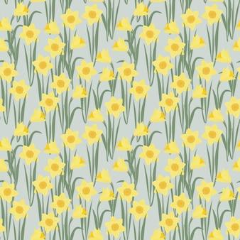 Daffodils flower seamless pattern