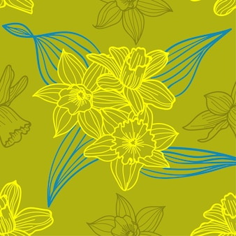 Daffodils summer flowers pattern background green
