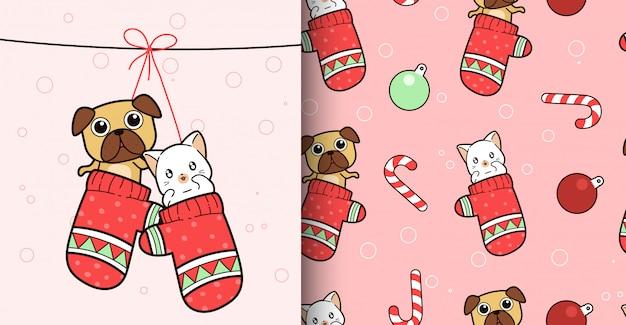 シームレスパターンかわいいdagと手袋の中の猫