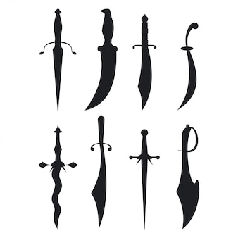 Dagger black silhouette set isolated