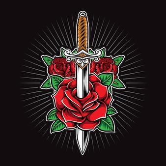 Dagger and roses tattoo  logo