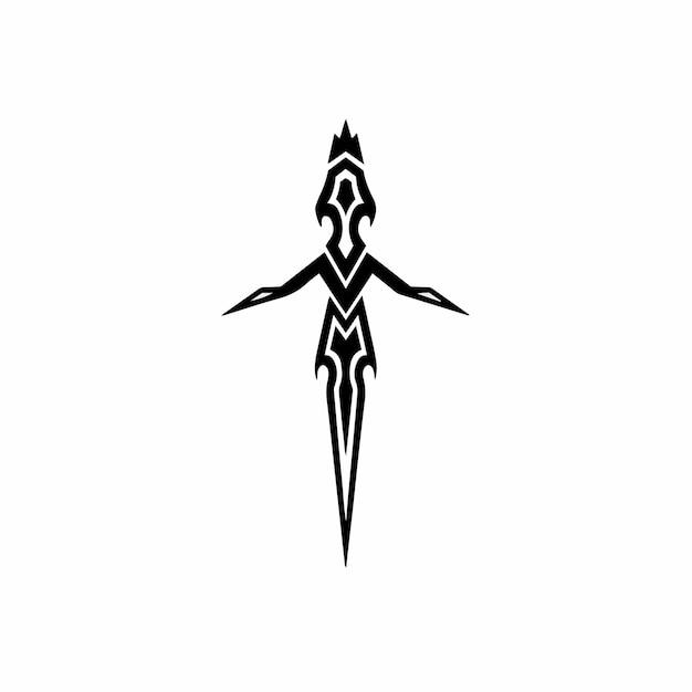 Dagger symbol logo tattoo design stencil vector illustration