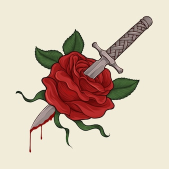 Dagger trough rose hand drawing illustration