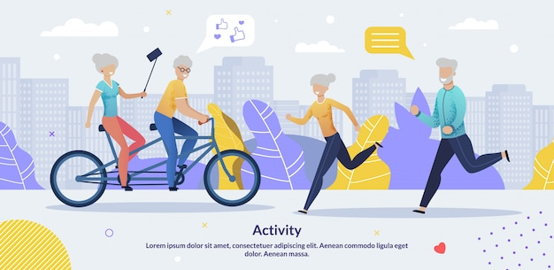 Daily activities for aged people motivate banner template