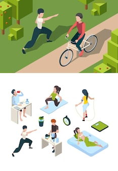 Daily activities of sport people nutrition for health active habits of successful person isometric