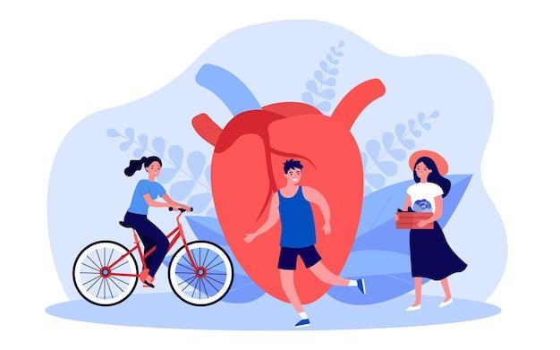 大きな心の近くの小さな人々の毎日の活動。サイクリング、ランニング、農場の食べ物を食べる人フラットベクトルイラスト。バナー、ウェブサイトのデザインまたはランディングウェブページの心臓の健康の概念のライフスタイル