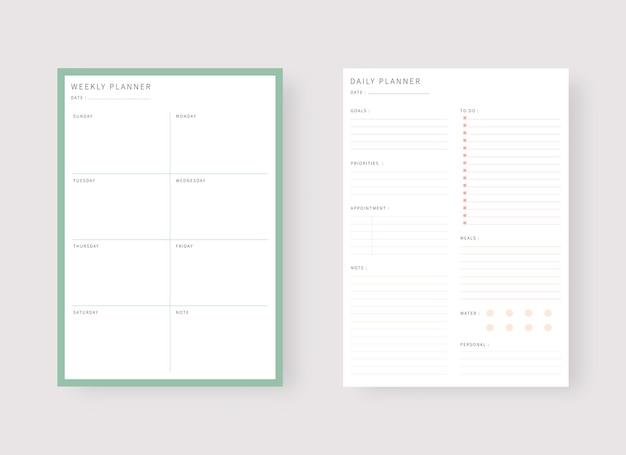 Шаблон ежедневного и еженедельного планировщика набор планировщика и список дел