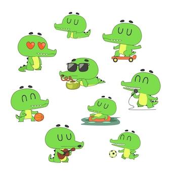 Daily cute green crocodile characters