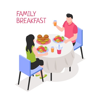 Daily family breakfast man and woman during morning meal at table on white isometric illustration
