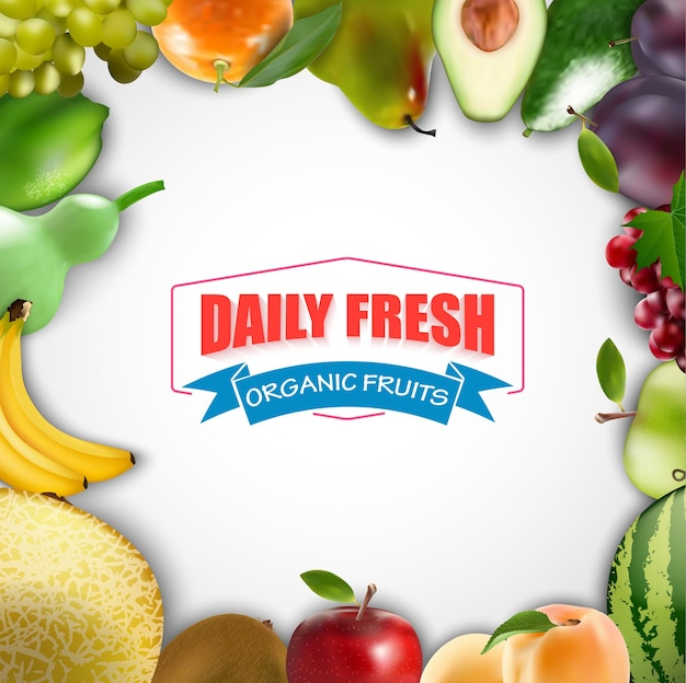 Daily fresh fruits frame on a white background