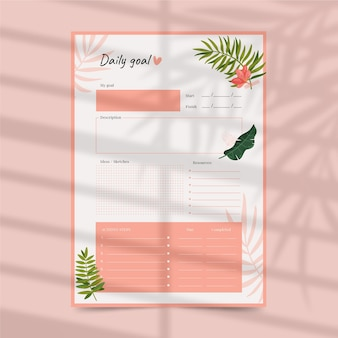 Daily goals planner template