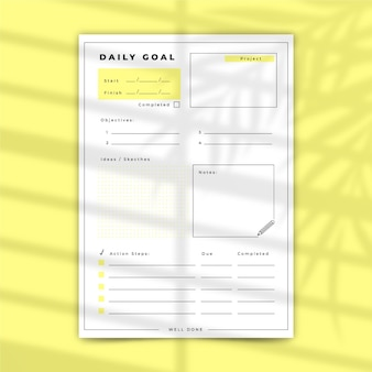 Daily goals template