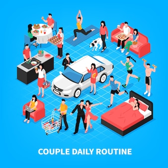 Daily life of couple cooking and work together dancing shopping and sleep blue isometric illustration