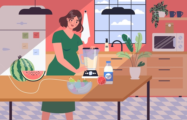 Daily life during pregnancy. young woman preparing to be mom. young woman cooking and eating healthy food. baby awaiting. pregnant woman with a big belly.