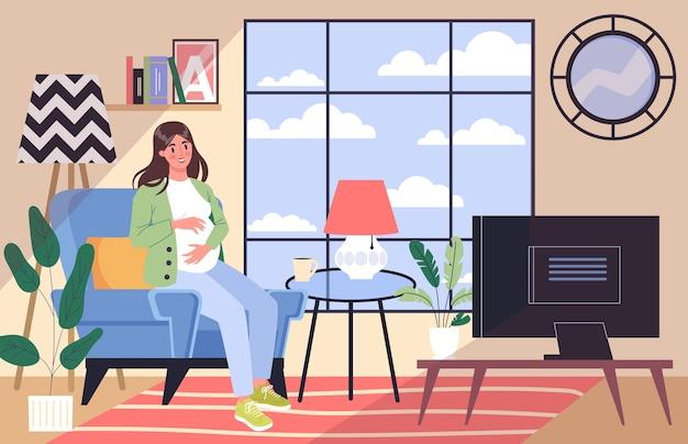 妊娠中の日常生活。ママになる準備をしている若い女性。家で休んでいる若い女性。赤ちゃんが待っています。大きなお腹を持つ妊婦。