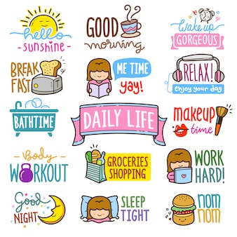 Daily life elements illustration set