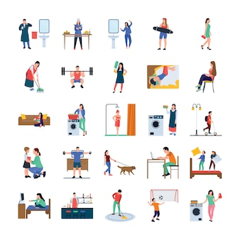 Daily life flat icons pack