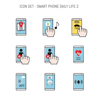 Daily life icon collection with smartphone